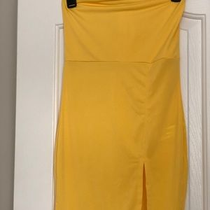 Strapples Yellow Dress with Slit